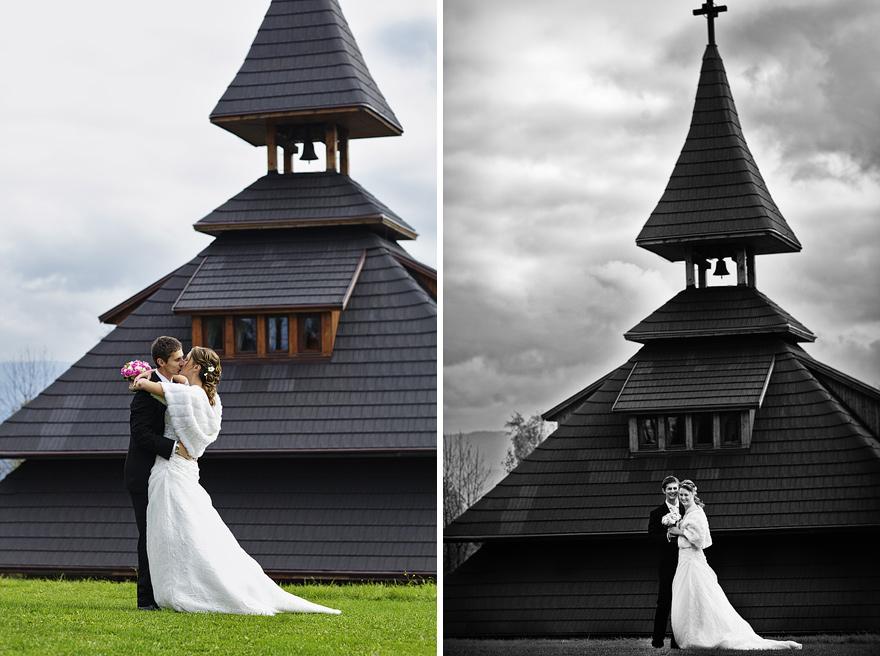 novomanželé u zvonice Soláň