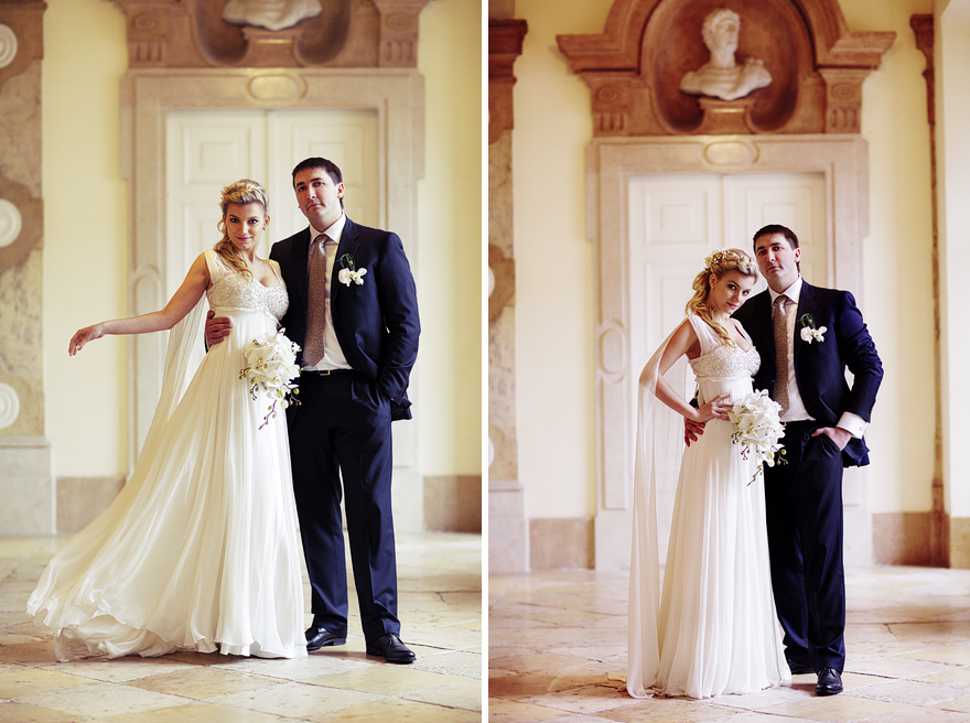 nevěsta a ženich v Mirabel Palace v Salzburgu