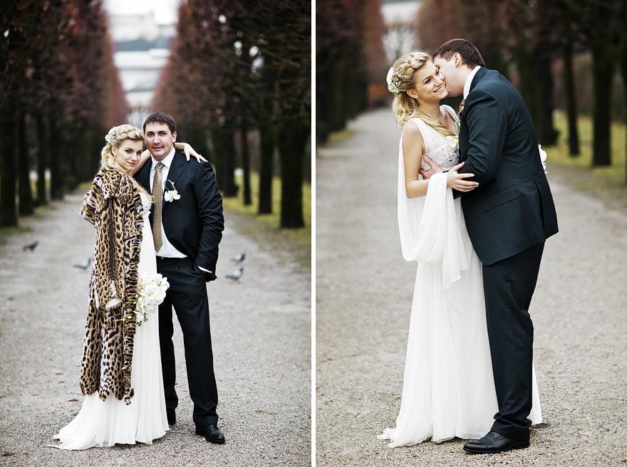 svatební fotografie v zahradách u Mirabelplatz