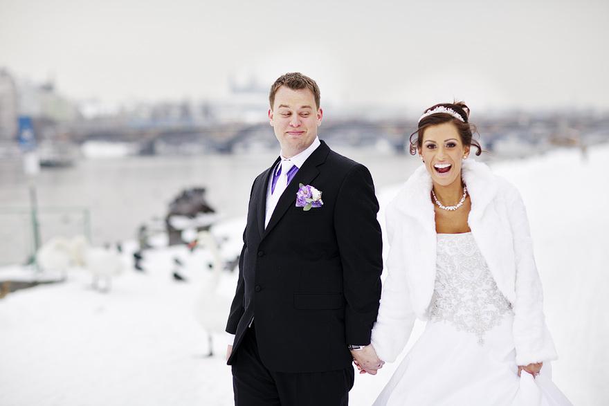 svatební fotografie v zimní Praze