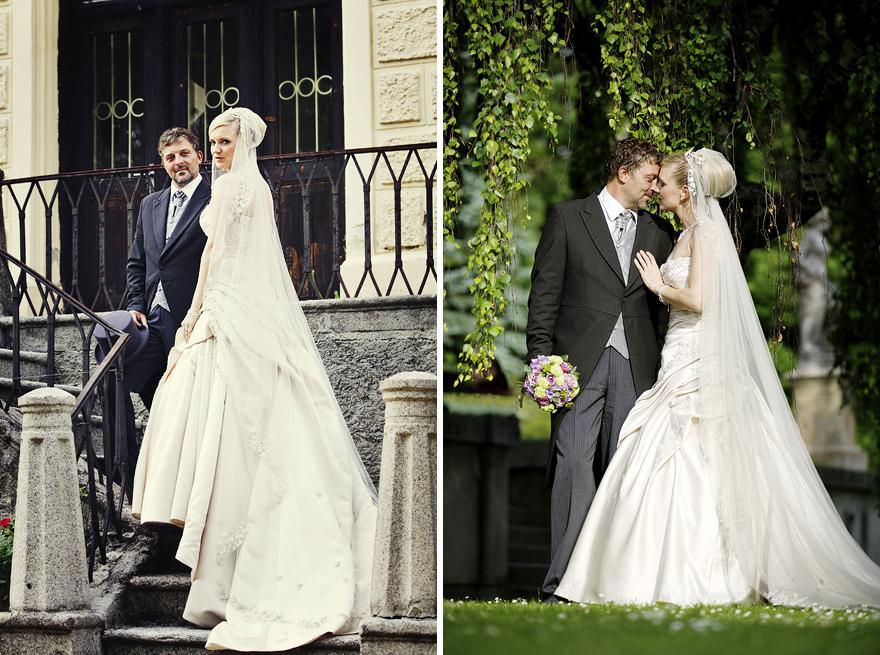 svatební fotografie v zahradě zámku Lnáře