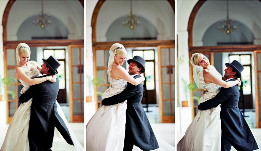 zamilovaný pár na zámku Lnáře