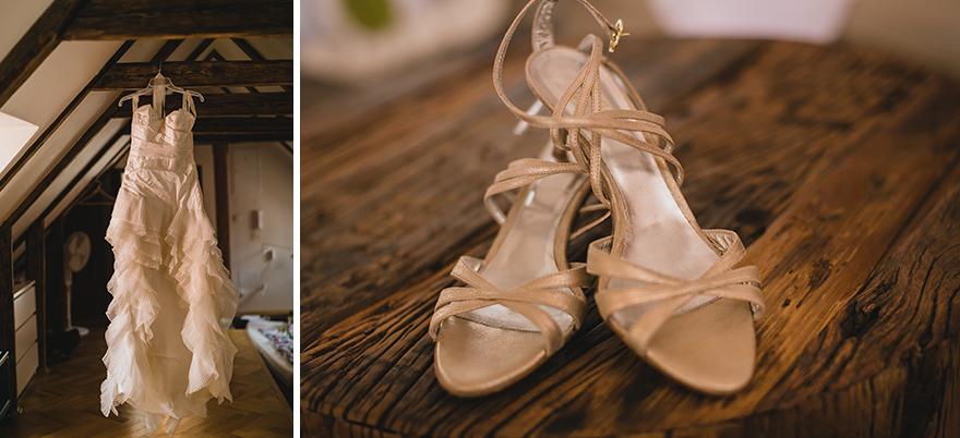 svatební šaty a svatební boty