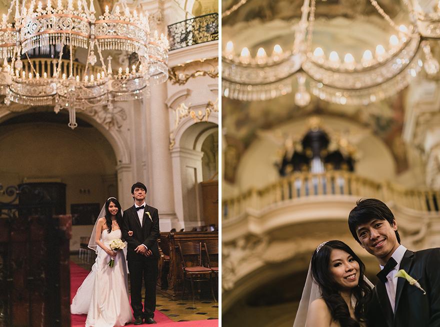 svatební fotografie v Praze v kostele sv. Mikuláše