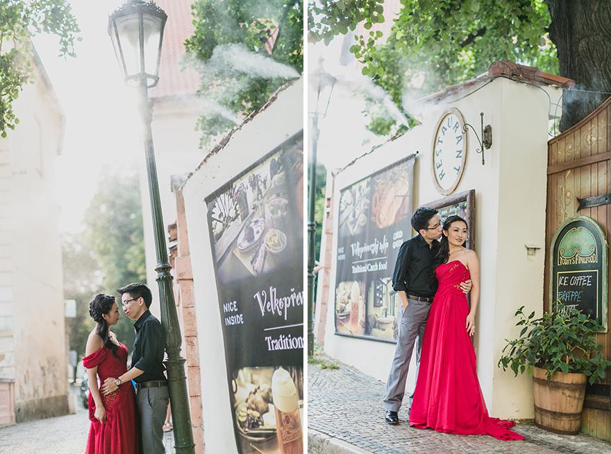 nádherná nevěsta v rudých šatech