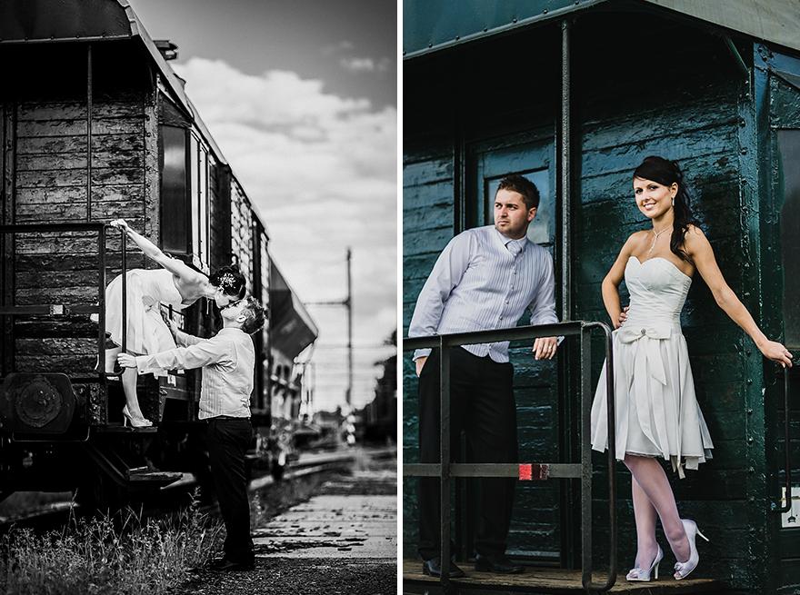 svatební fotografie na nádraží