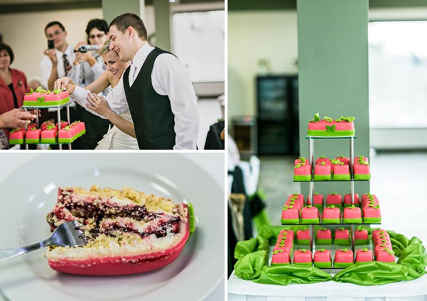 fotografie krájení svatebního dortu v hotelu Rakovec v Brně