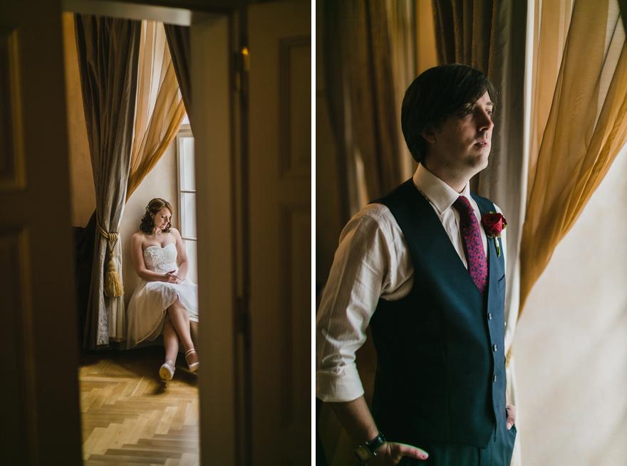 fotografie nevěsty a ženicha před tajnou svatbou v Praze