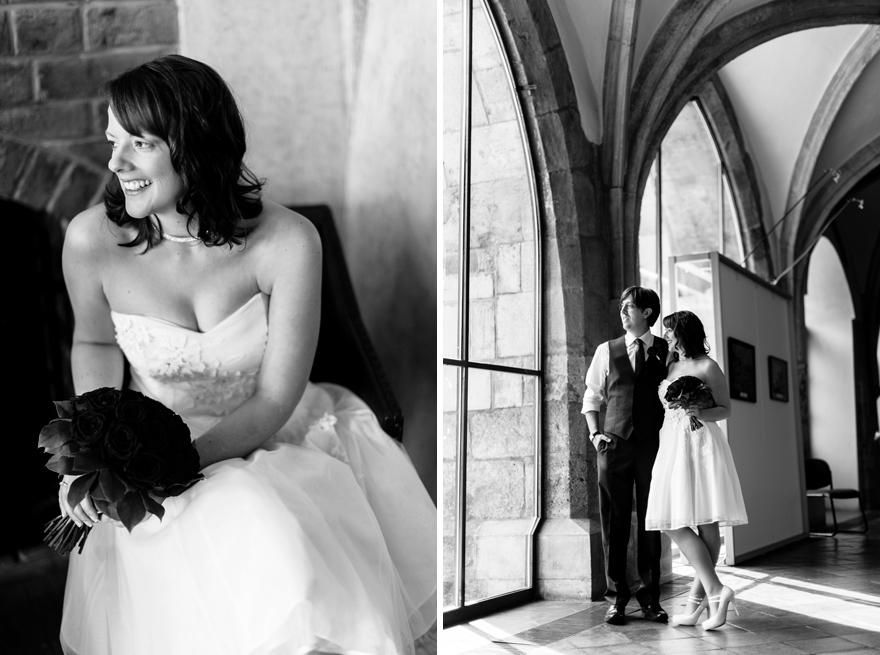 fotografie nevěsty a ženicha ve Staroměstské radnici v Praze