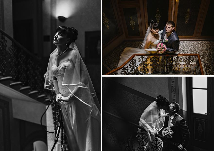 svatební fotografie krásné nevěsty a ženicha v Praze