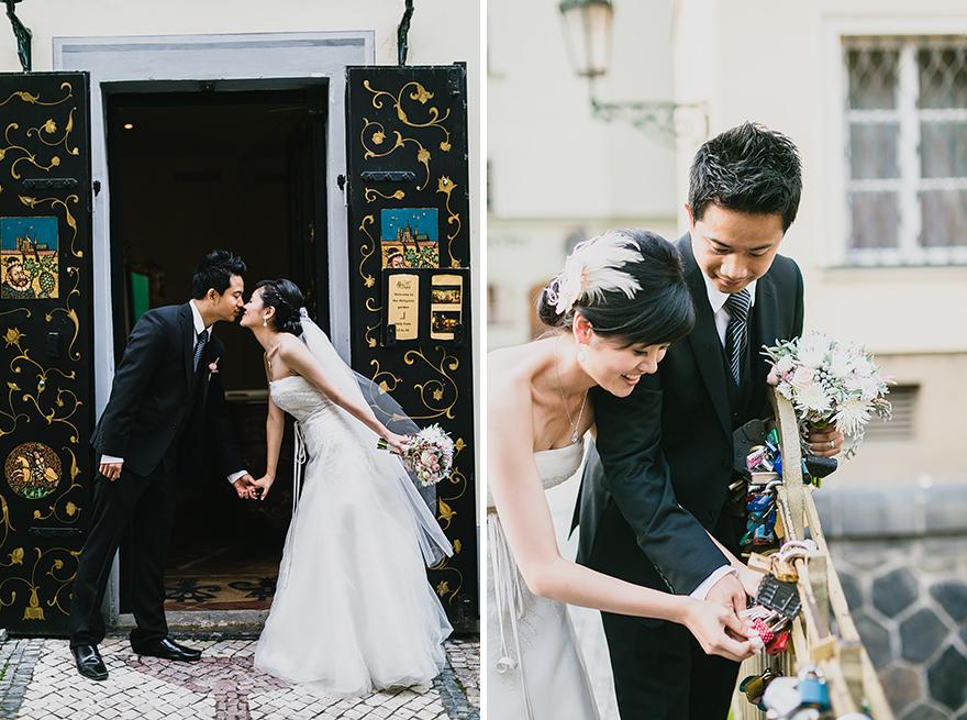 fotografie nevěsty a ženicha v Praze na Malé straně a u Kampy