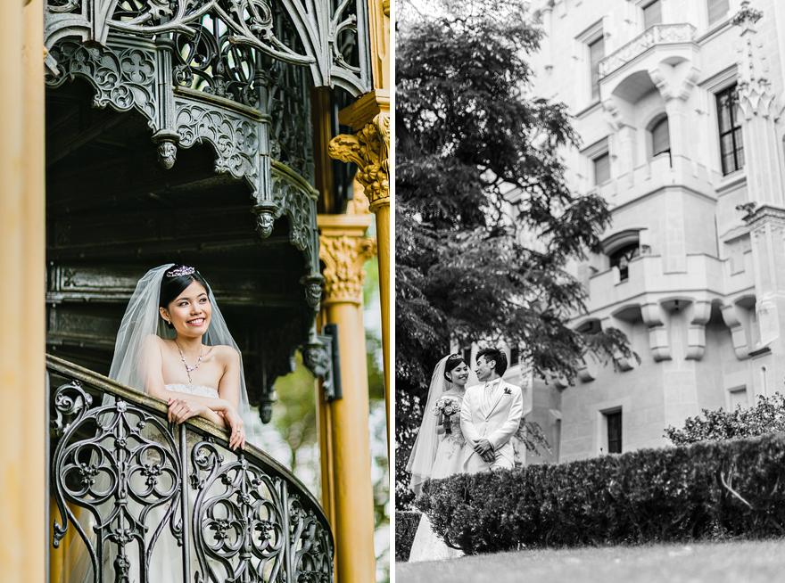 svatební fotografie nevěsty na zámku Hluboká nad Vltavou