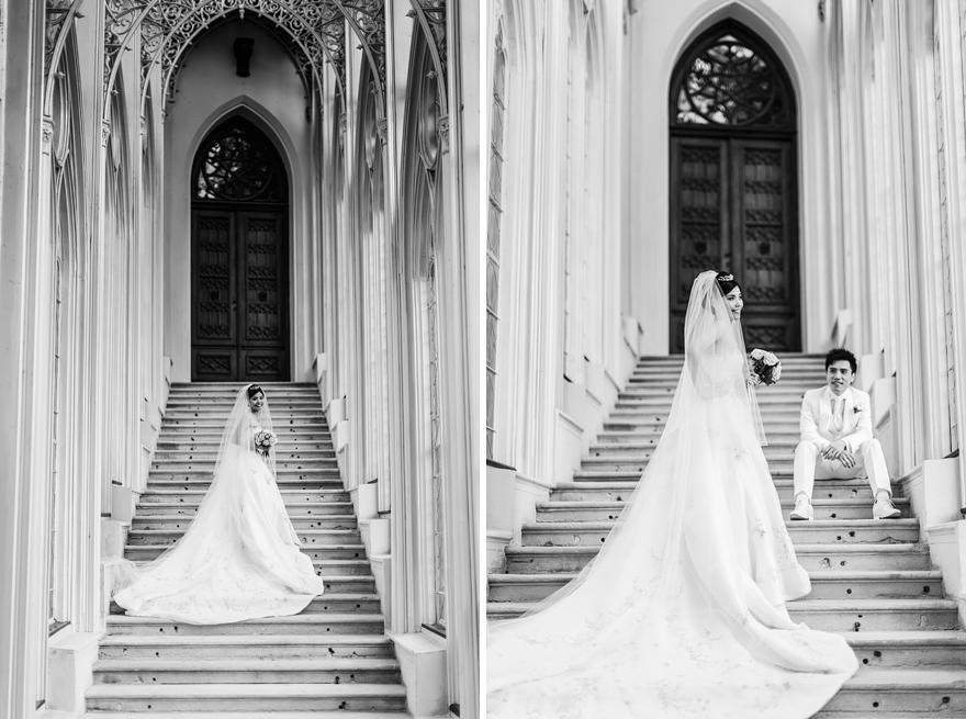 svatební fotografie nevěsty a ženicha na zámku Hluboká nad Vltavou