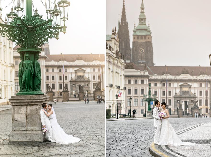 svatební fotografie u Pražského hradu na Hradčanech v zimě