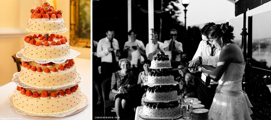 jahodový svatební dort