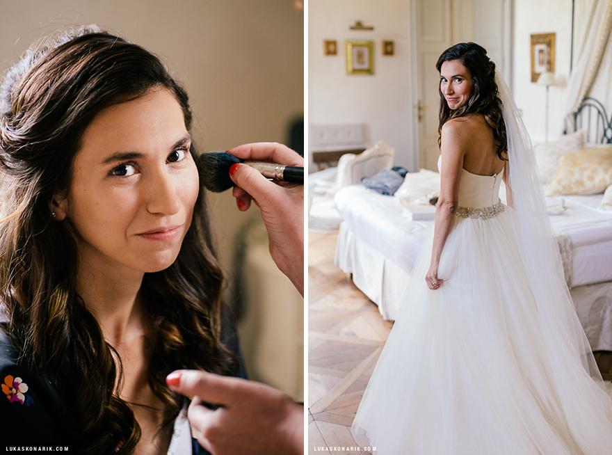 svatební fotografie nevěsty v Chateau Mcely