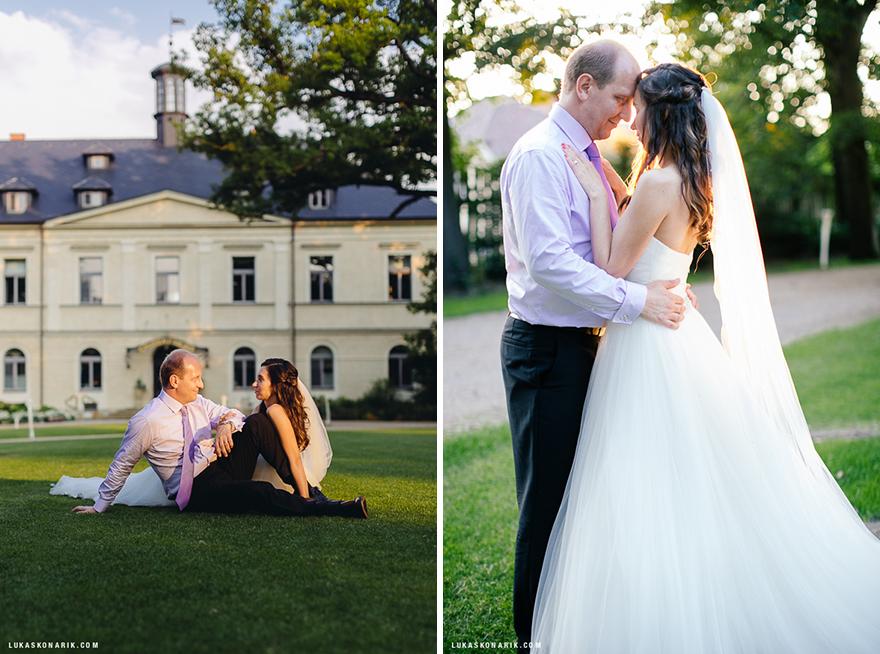 portrétní svatební fotografie v parku