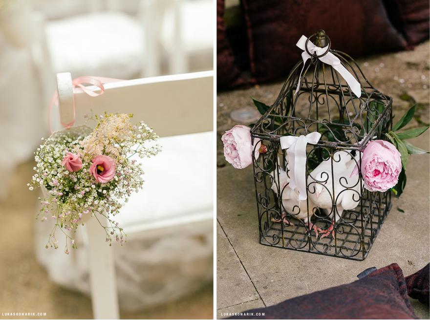 svatební dekorace, svatební holubi